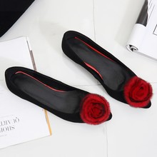 Spring aesthetic pointed toe rabbit fur flat flower low-heeled shoes sheepskin velvet black red goat leather(China)