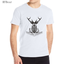 RFBEAR brand man cotton t shirt 2017 new fashion summer Men's T-shirt o-neck Casual homme Short sleeve printing Explore the deer