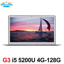 Partaker 13.3 inch Intel i5 5200u Ultrabook Laptop Computer with 1920*1080 HD Screen USB 3.0 HD 5500 Graphics(China)