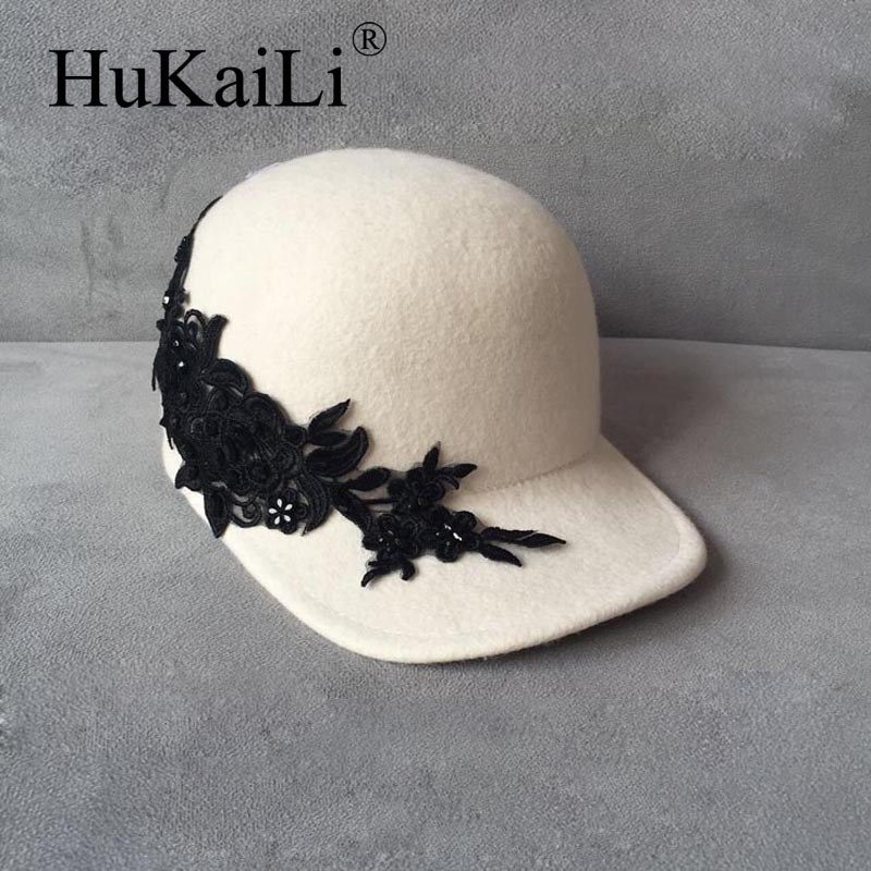 White wool baseball cap embroidery rhinestone black rose applique equestrian cap elegant fashion female hat<br>