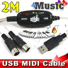 2016 Wholesale Superior 6ft USB IN-OUT MIDI Interface Cable Converter PC to Music Keyboard Adapter Cord