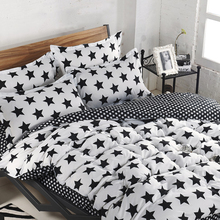 Bedding Sets Custom Size Duvet Cover Set USA Russia Size Bed Set Two-Tone Bedclothes White And Black Star(China)