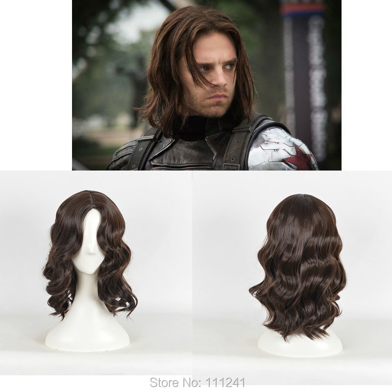 Captain America: Civil War Winter Soldier Bucky Barnes Brown Cosplay Wigs Mens Naturally Brown Real Hair Synthetic Wigs<br><br>Aliexpress