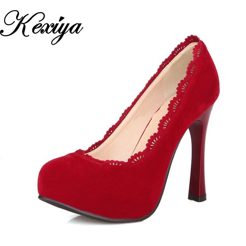 Hot sale! The new Big size 30-50 Fashion Pure color Womens shoes elegant Ultra high with flock high heels HQW-6355<br>