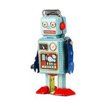 Do Dower Robot Mechanical Clockwork Wind Up Toys Vintage Walking Radar Robots Tin Toy with Key Retro Metal Doll For Kids Gifts(China)