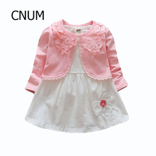 CNUM Kids Baby Girls Dress Set Summer 3T Brand Kid Girls Dress Set Princess Clothes Autumn Girl Outwear Coats Children Outfits