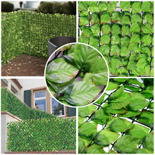 3PCS 1mX3m artificial hedge fence fake rose leaf Plastic Garden Fence Rose Leaves for garden fence chain link fence-G0602B002E