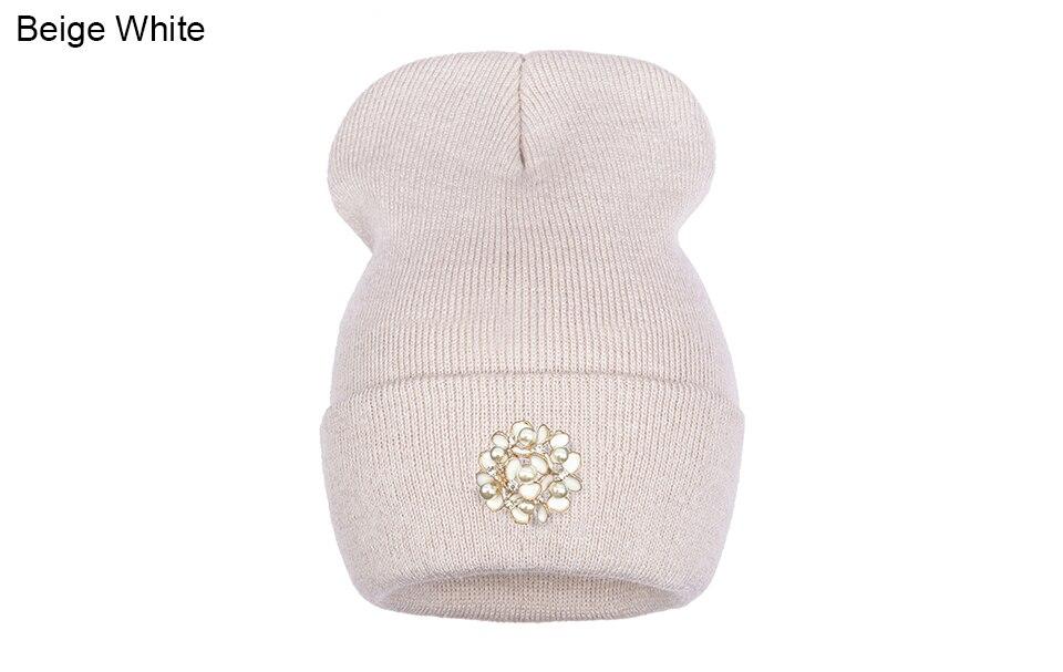 Ralferty Winter Hats For Women Flower Beanies Skullies Female bonnet femme gorros cappelli Cap Beanie gorra Black Acrylic Hat 16