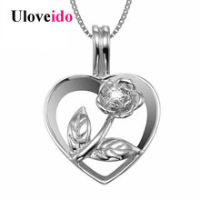 Uloveido Heart Necklaces & Pendants Colar Rose Flower Necklace Women Collares Silver 925 Jewelry Chain with Box 40% Off LN003(China)
