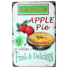 Painting Iron Panel Apple pie fresh delicious Metal Poster Tin Sign Wall decor Bar Retro Painting wall sticker art decor Panels