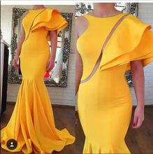 New Design sexy mermaid Evening Dress 2017 indian saree Ruffles Neck Sleeveless Arabic Style Pageant Long party dresses for Prom