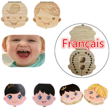 French Language Wood Tooth Box for Kids Boy&Girl Save Baby Milk Teeth Wood Storage Organizer Memory Case Gifts Wholesale 20JE7