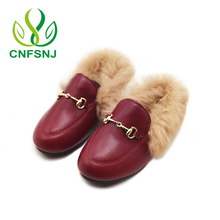 CNFSNJ 2017 Girls Flat Shoes New Children Rabbit Fluffy Fur Fashion Baby Girls Winter Warm Shoes for Children Sneakers Kids Shoe