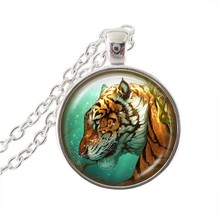 Tiger pendant necklace punk animal jewelry glass cabochon choker silver chain neckless women men statement necklaces wholesale