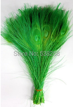 Free shipping Green dyed peacock feather 100pcs/lot length 25- 30 cm 10-12 inch peacock feathers wedding decorations wholesale