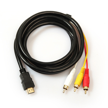 5Ft 1.5M 1080P HDTV HDMI to 3 RCA Cable Video Audio AV Component Converter Adapter Connector Cable For HDTV DVD LCD Projectors