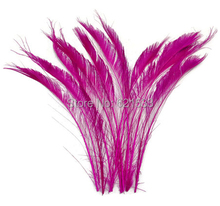 Rose Peacock Feathers,100Pcs/Lot - HOT PINK Bleached Peacock Swords Cut Wholesale Feathers 30-40cm long(China)