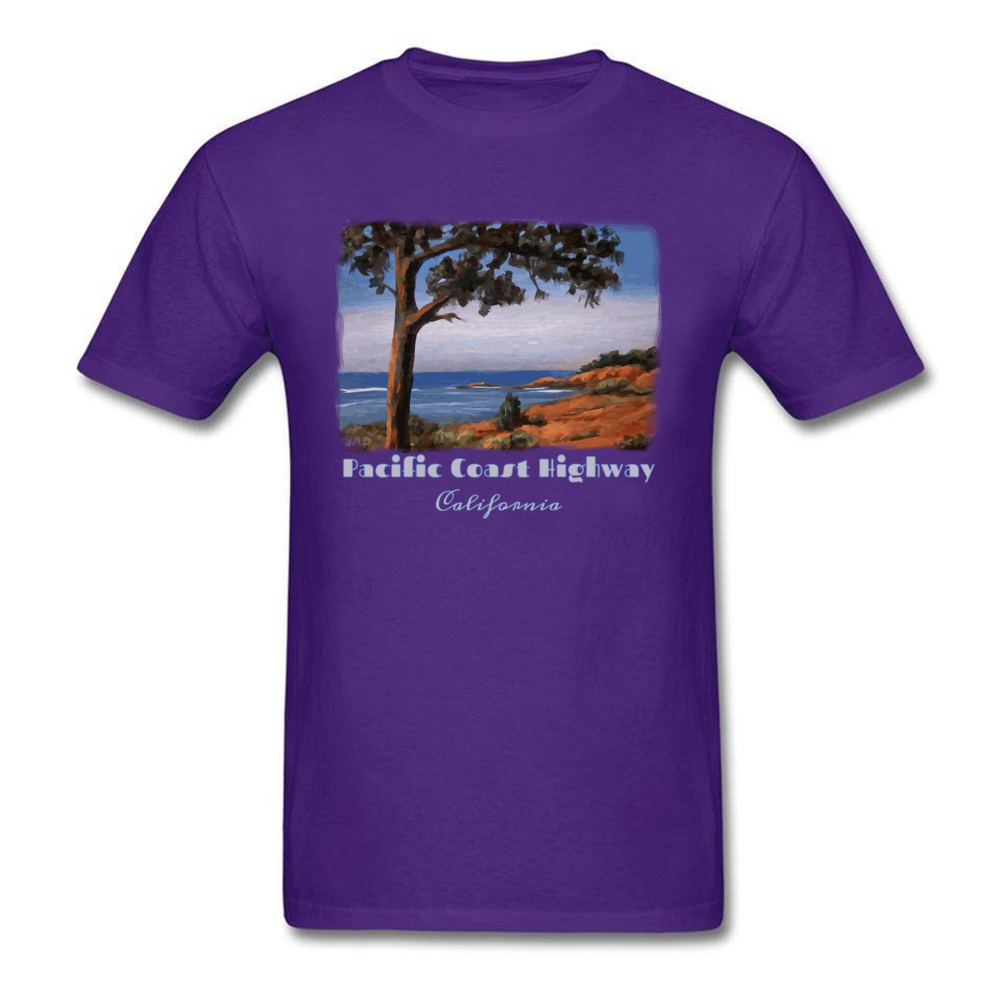 Simple Style Crewneck T Shirts Summer/Fall Tops Tees Short Sleeve Newest Cotton Fabric Printed Tshirts Casual Men Pacific Highway California Highway One Coastal Calif purple