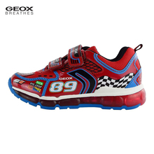 GEOX Brand Kids Boys Luminous Sneakers Cool Racing Car Print Flashing Led Light Up Running Sport Casual Children Footwear Shoes(China)