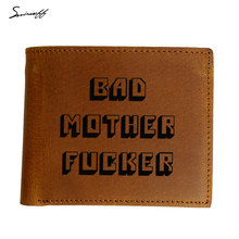 Genuine Leather Men Wallet Laser Engraved Pulp Fiction Bad Mother Letters Boys Wallet Card Holder Vintage Custom Name Gift Purse(China)