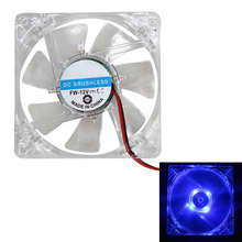2pcs 80mm 80x25mm Crystal Frame & Blades Fans 4 LED Blue 4pin for Computer PC Case Cooling Cooler