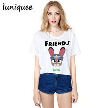 Summer Women's Clothing T shirt Women Zootopia T-shirts Nick fox and Judy Rabbit best friends print girl shirt cartoon Tops Tees