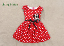 2016 New summer dress Minnie Mouse Dress girls  printing  sleeveless dress dress girl fashion