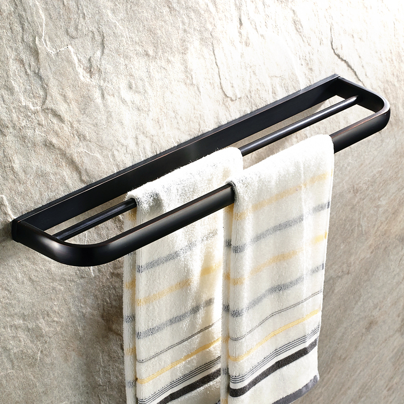 AUSWIND Antique Solid Bathroom Towel Holder Black Towel Rack with Double Bars Wall Mounted Bathroom Accessories<br>
