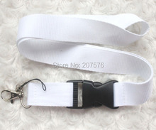 Free  shipping  10pcs white  Solid  Blank neck Lanyard for ID Key chain Cell Phone, Neck Strap Lanyards ch-19