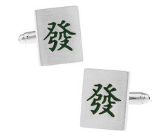 iGame Factory Price Retail Men's Cufflinks Green Color Brass Material Mahjong Design Cuff Links