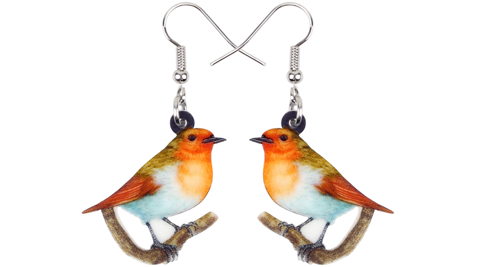 Sweet American Robin Bird Pin Songbird Brooch