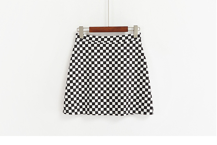 2017 Summer Korean Style Black White Plaid High Waist Slim A-line Female Skirts 13
