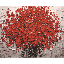 Artist Supply High Quality Red Flower Knife Oil Painting On Canvas Beautiful Flower Oil Painting Picture On Canvas Decoration