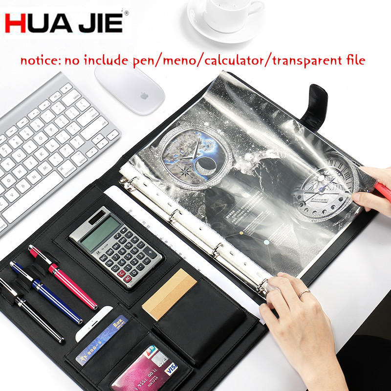 HUA JIE  PU Leather Binder Portfolio A4 Professional Business Document Clip Folder for Restaurant Bill Holder Padfolio Clipboard<br>