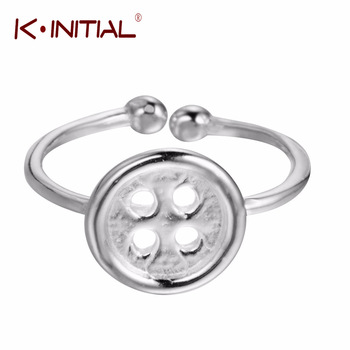 Kinitial 1Pcs Handmade 925 Silver Snap Button Rings Cloth es Snap Button Finger Circle Adjustable Ring Women Accessories Gift