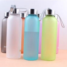 Arsmundi 600 ML Solid Color Sport Water Bottle Cylindrical Matte Metal Lid Seal Bottle Outdoor Camping Water Bottle(China)
