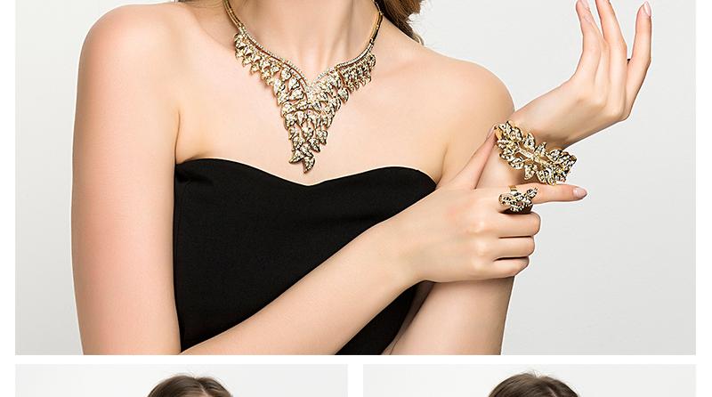 CWEEL Jewelry Sets Luxury Women African Jewelry Set Plant Imitation Crystal Wedding Jewellery For Bride Dubai Jewelry Sets (2)