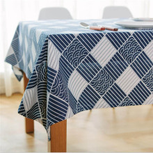 Hot Magic Home Cotton / Linen Blending TableCloth Classic Blue And White Table Cloth For Rectangle Table Cloth  Party Wedding