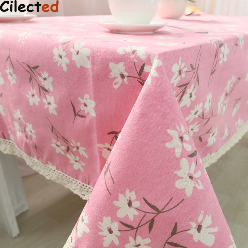 Cilected Home Tablecloth Pink Flower Design Korean Style Countryside Table Linen Cotton Kitchen Handmade Customized Tablecloth T(China)
