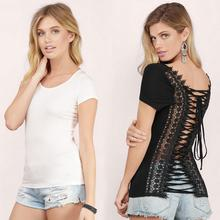 Woman T Shirts Embroidered Short Sleeve Sexy Backless Top Bandage O-neck Lace Splicing Women's T Shirt Black T-Shirt Tops C1