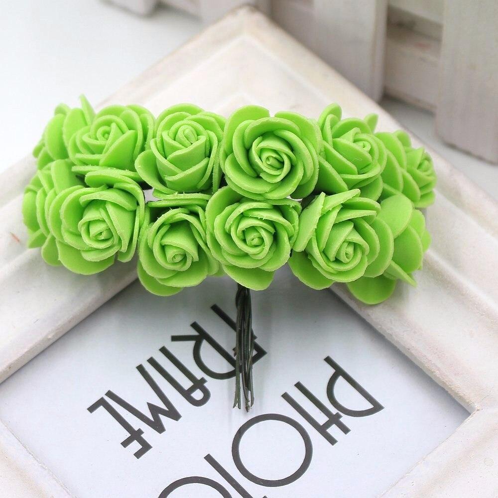 12pcs/lot New Hot 2cm Head Multicolor PE Foam Mini Flower Artificial Rose Flowers Bouquet wedding decorative flowers wreaths 20