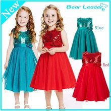 kids clothes baby girls dress summer fashion girls red green  roses sequins knee-length dress princess girl cute evening dress