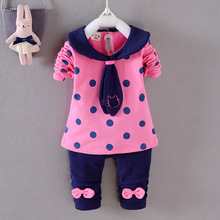 Polka Dot Print Bow Tie Cute 2Pcs Clothing Set Children Clothes Suit Baby Girl Cloth Set Top T shirt + Pants High Quality