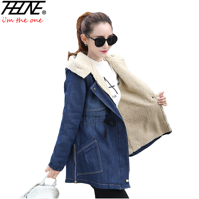 THHONE Winter Coats for Women Denim Jackets Slim Elastic Waist Fleece Hooded Pocket Overcoat Thin Jeans Parka Winter Jacket LongÎäåæäà è àêñåññóàðû<br><br>