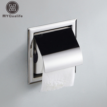 2017 New Toilet Paper Holders Bathroom Accessories Wall Mount Concealed Toilet Paper Box w/Cover(China)