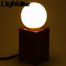 2016 New High Quality E27 Modern Minimalist Peach Wood Lamp Square Desk Lamp with LED Bulb Perfect For Coffee House Living Room