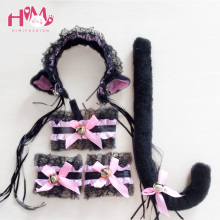 Lolita Kitten Maid Cos Lace Cat Ears Hairpin Choker Tail Women Christmas Hairpin, Cute Girl Lolita Cosplay Cat 5 Pics Set
