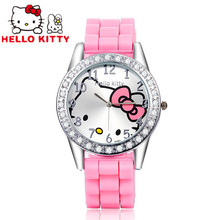 Hello Kitty Watch Rhinestone Cartoon Kids Watches Children's Watches For Girls Jelly Silicone Girl Watch Baby Clock saat relojes(China)