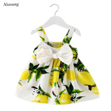Hot Baby Girl Clothes Lemon Printed Infant Outfit Sleeveless Princess Gallus Dress Party Dress wholesale m