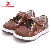 FLAMINGO Russia Brand Spring New Style Kid Hook & Loop Boy Brown Casual Shoe Leather Fashionable Walking Shoes 61-CP103/61-CP104